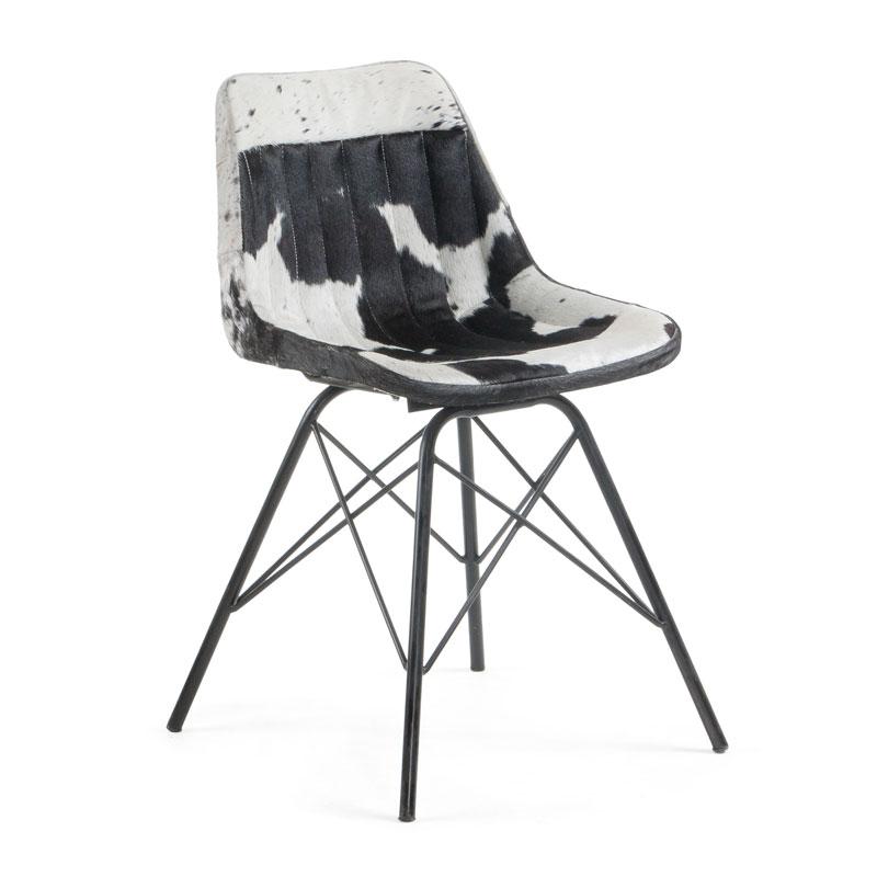 Leren stoel met koeienprint