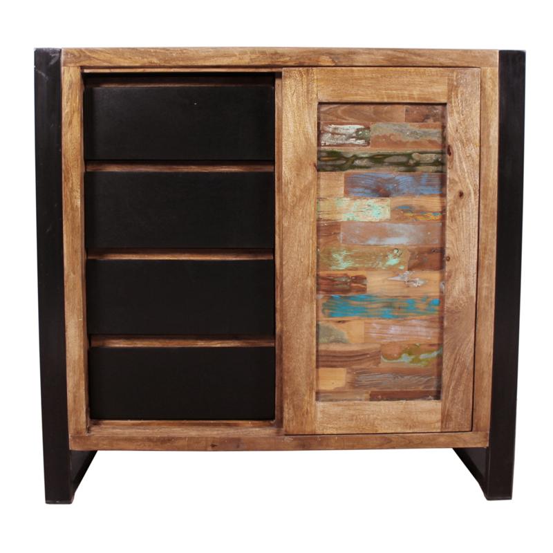 Lage wandkast van gerecycled hout