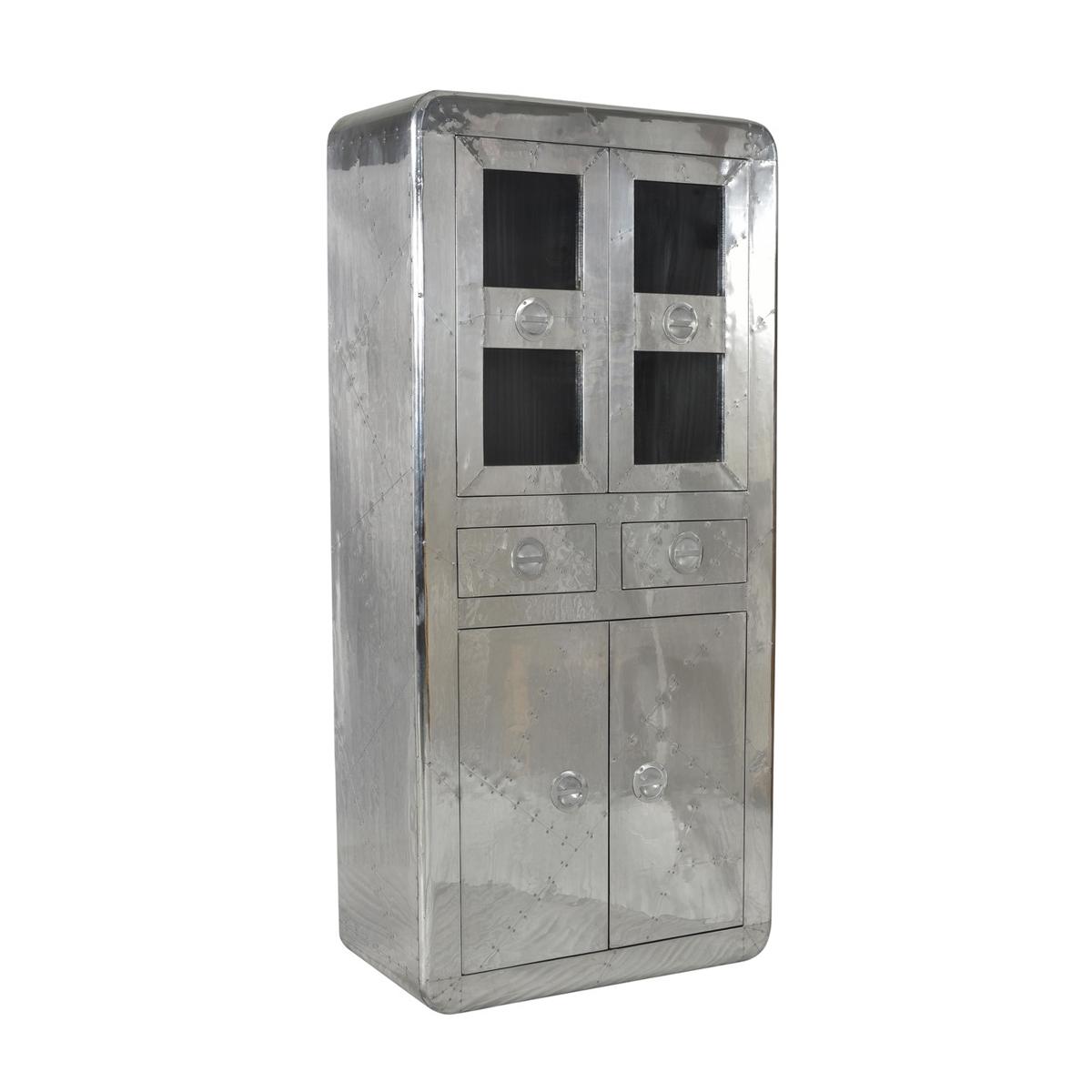 Aluminium vitrinekast met 2 laden