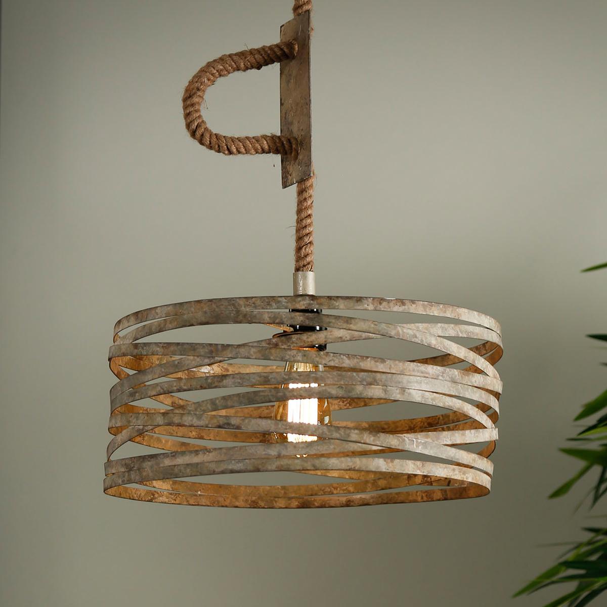 Hanglamp Met Touw.Metalen Hanglamp Aan Touw