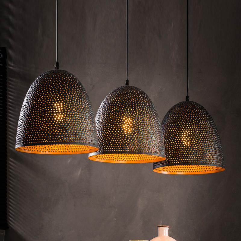Zwart bruine hanglamp 3l