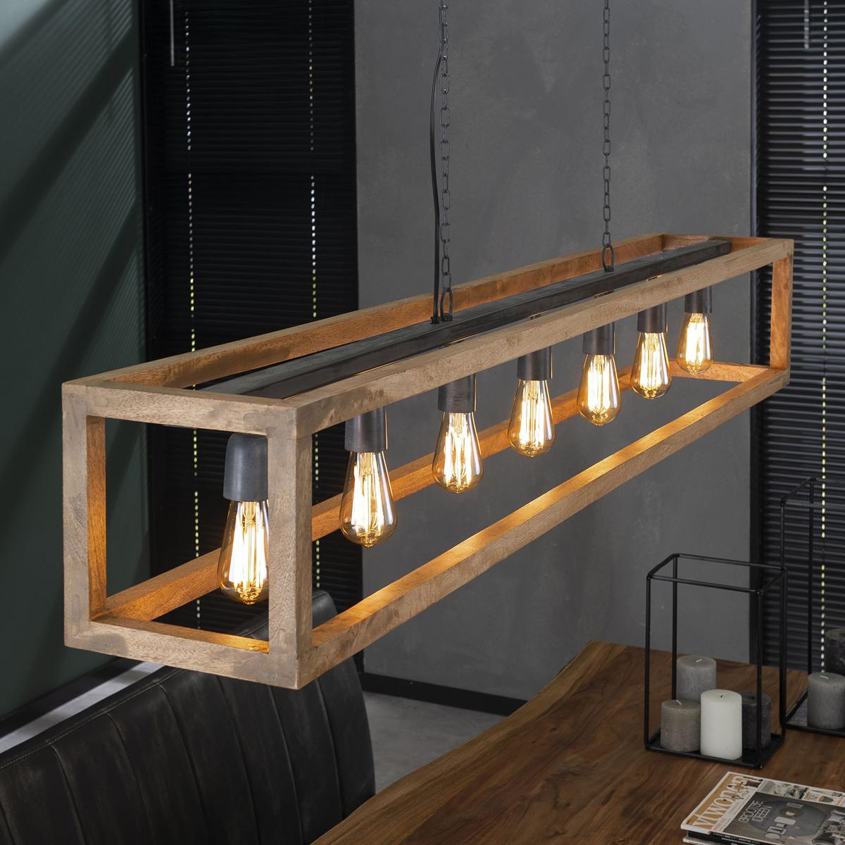 Rechthoekige houten hanglamp