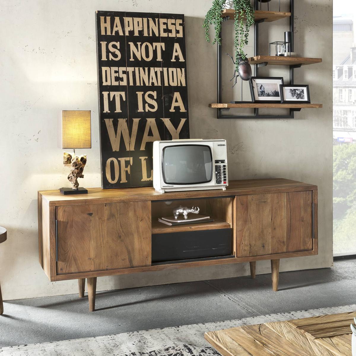 Retro tv-meubel van acaciahout