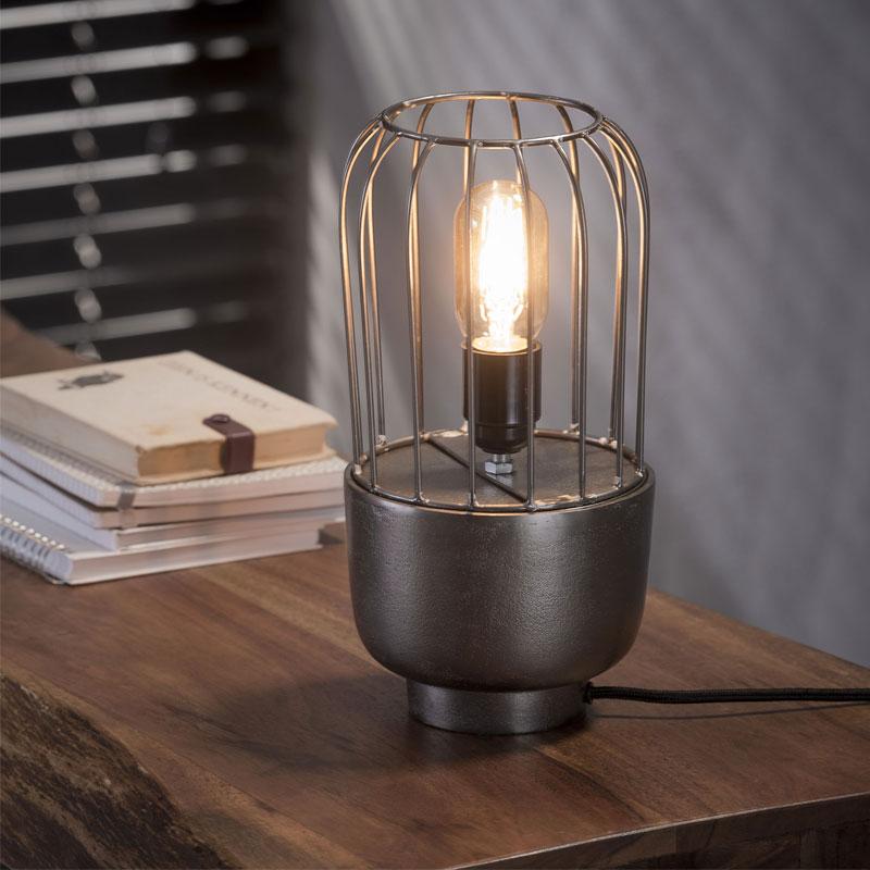 Bureaulampje nikkel staaldraad