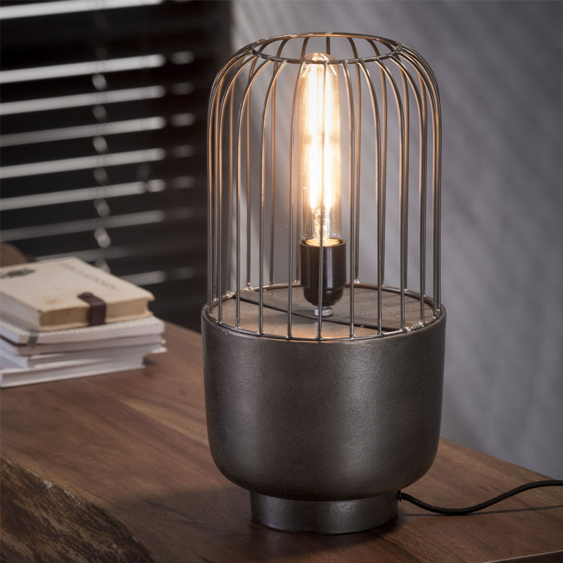 Tafellamp nikkel staaldraad
