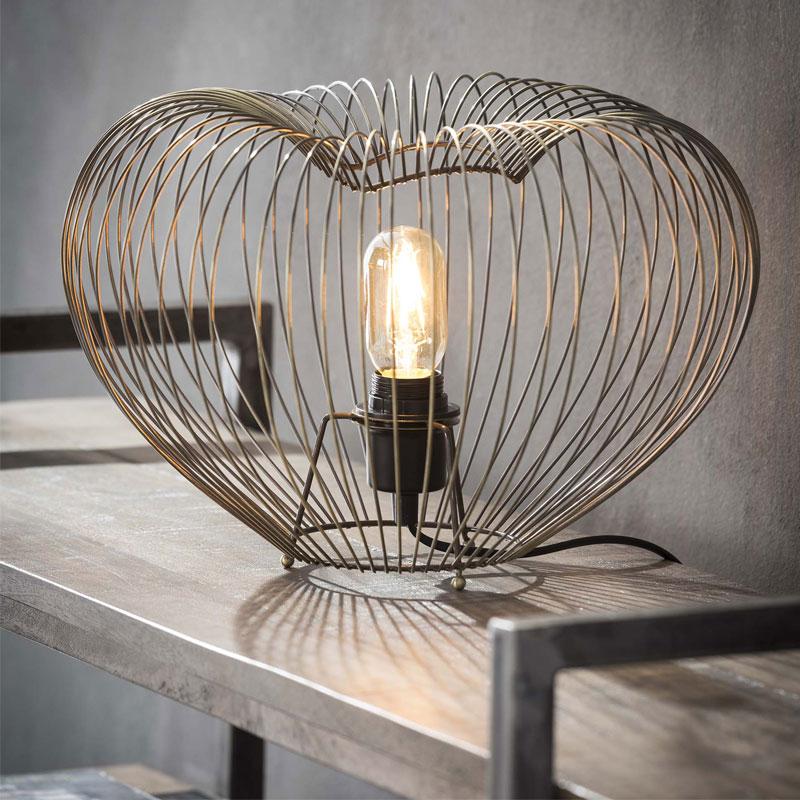 Draadstaal bronzen tafellamp