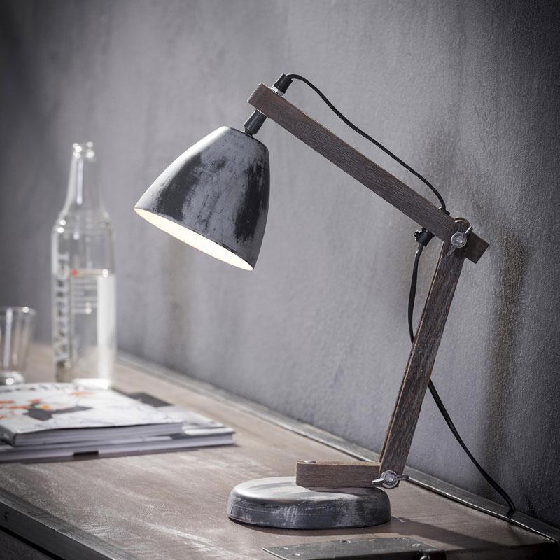 Bureaulamp van metaal en hout