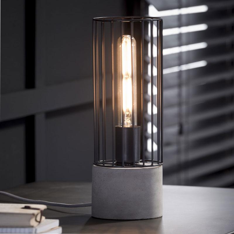 Tafellamp met beton en metaal