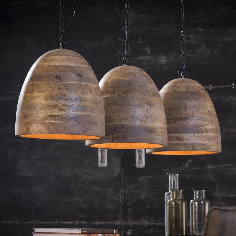 Authentieke houten hanglamp