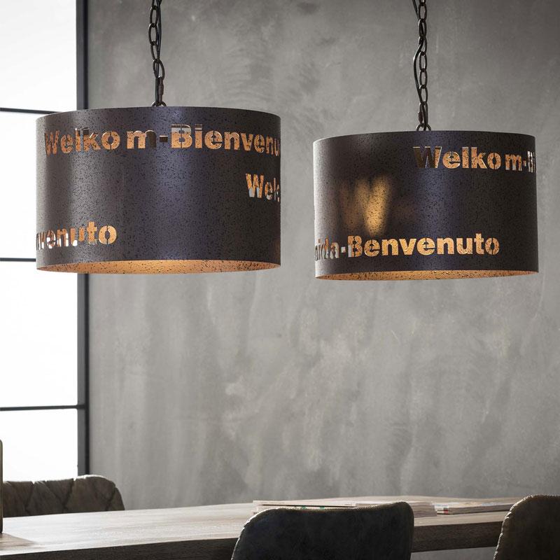 Hanglamp met welkom-teksten 2L