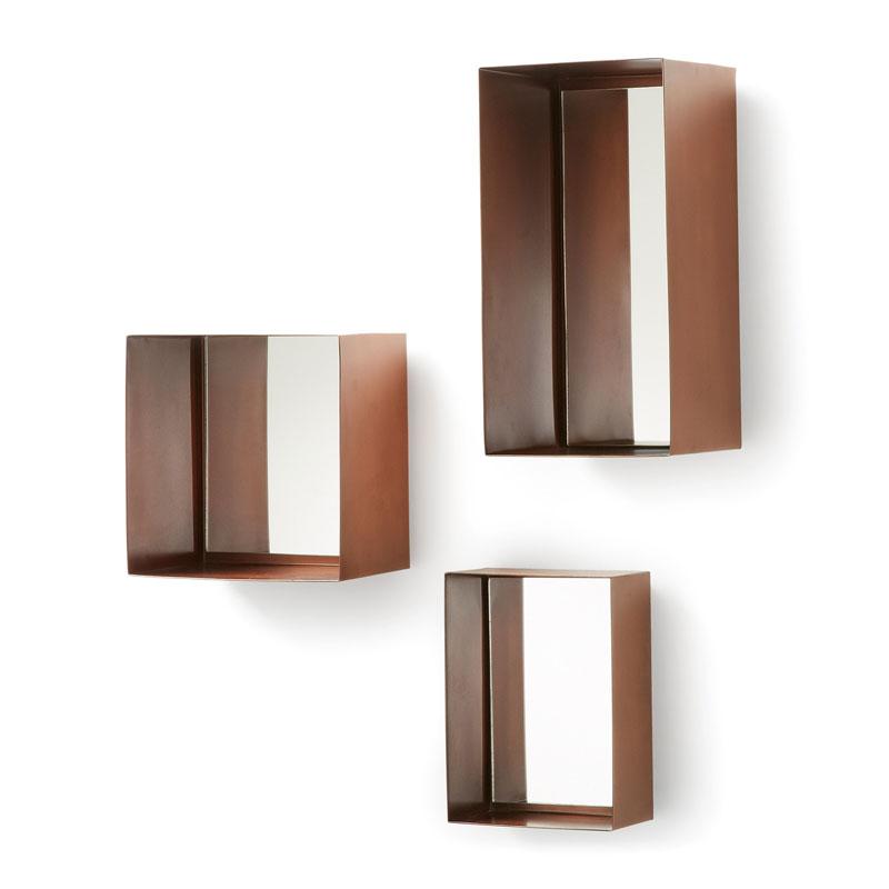 Set van 3 koperen spiegels