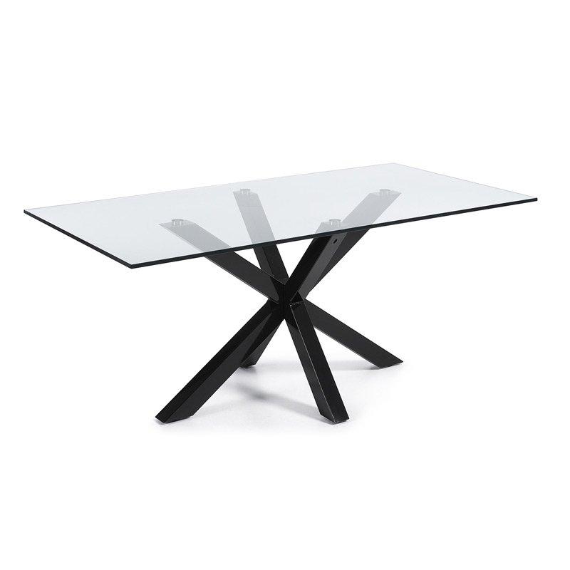 Glazen tafel zwart frame