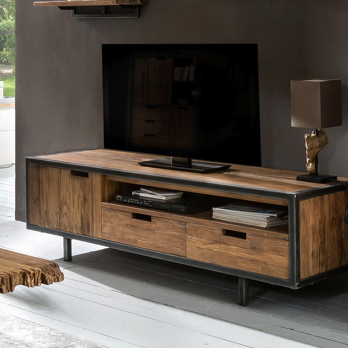 Teak tv-meubel met metaal
