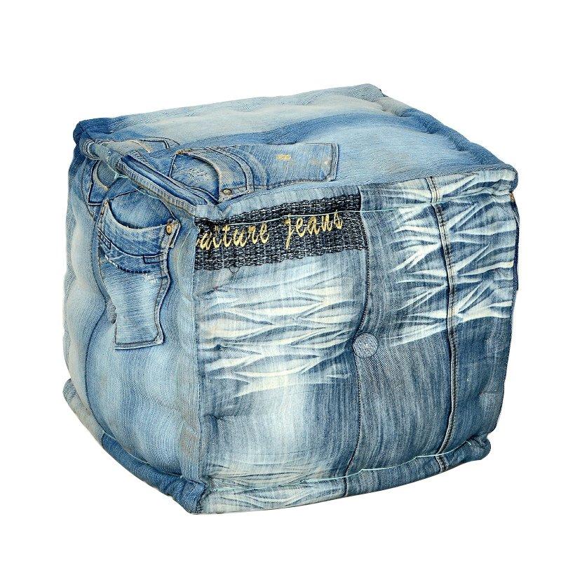 Vierkante poef Lavis Jeans