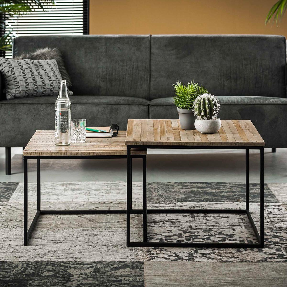 Vierkante salontafelset teakhout 60x60