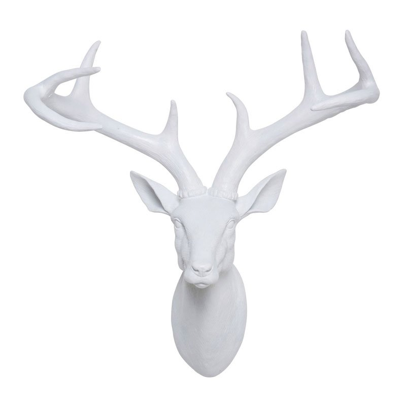 Witte hertenkop wanddecoratie