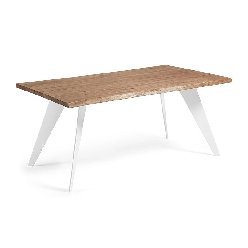 Witte tafel met eiken