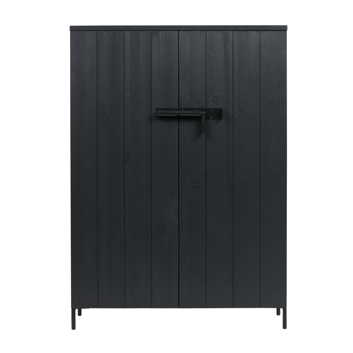 Zwarte houten wandkast