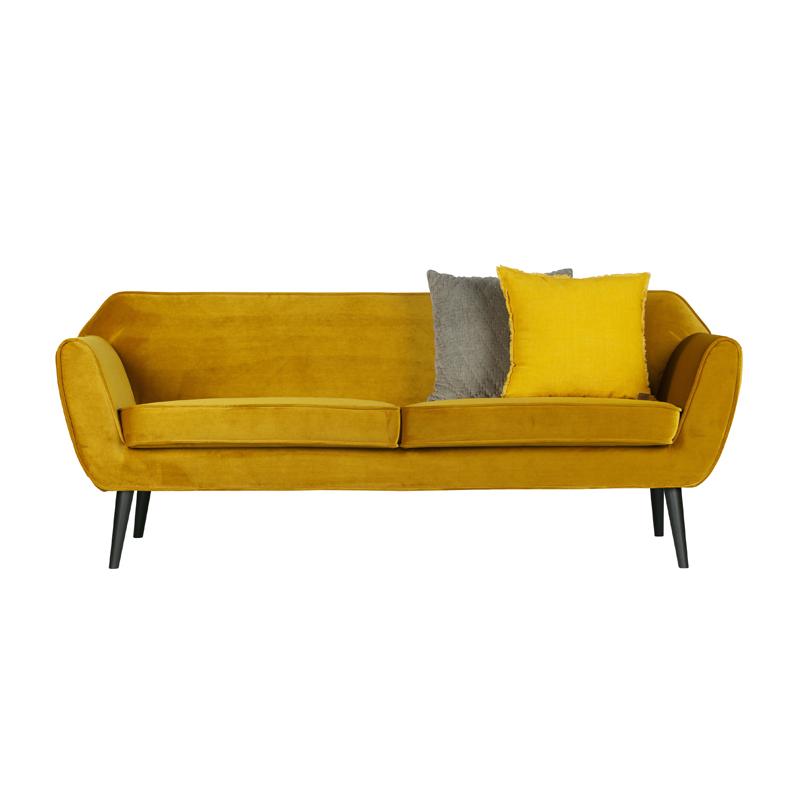 Fluwelen sofa okergeel