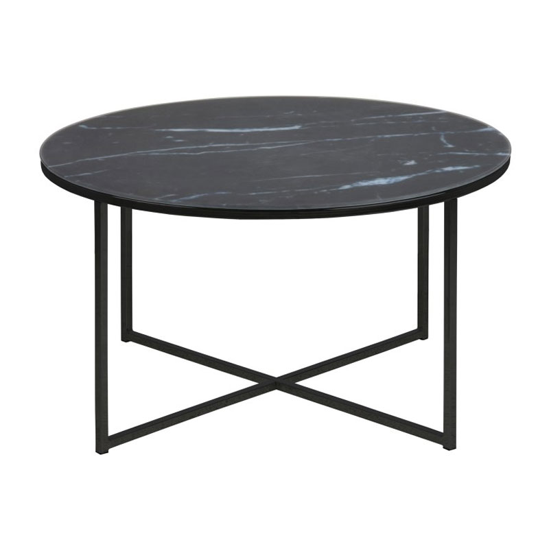 Super Zactona Marmor | Zwarte ronde salontafel met marmer print | LUMZ &LG51