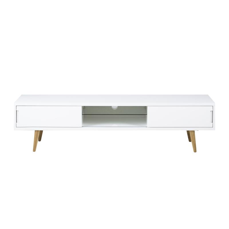 Zactona niels hoogglans wit tv meubel met houten poten for Hoogglans wit tv meubel