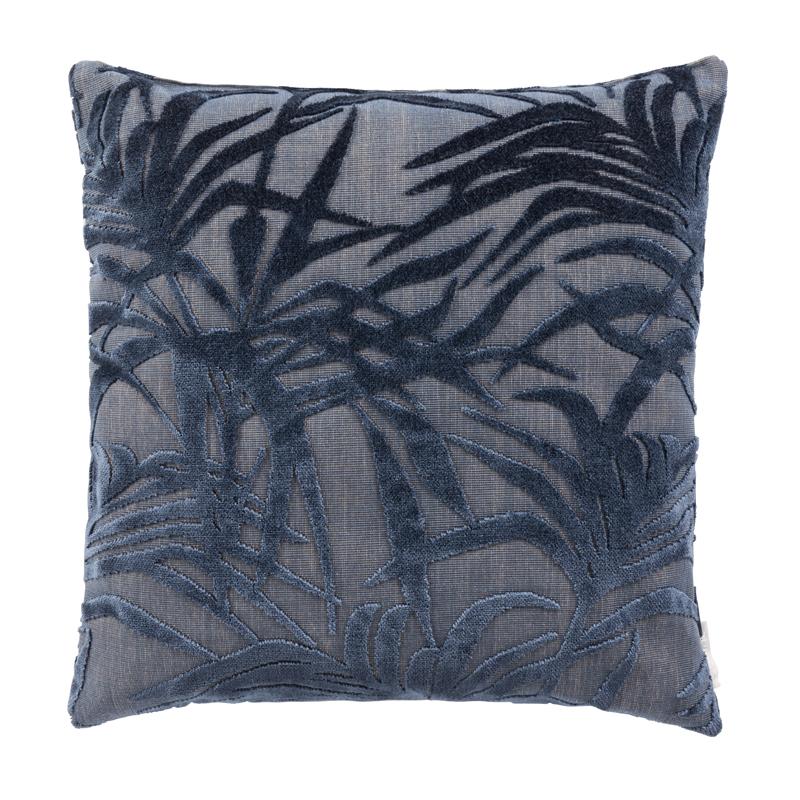 Blauw sierkussen met blad patroon