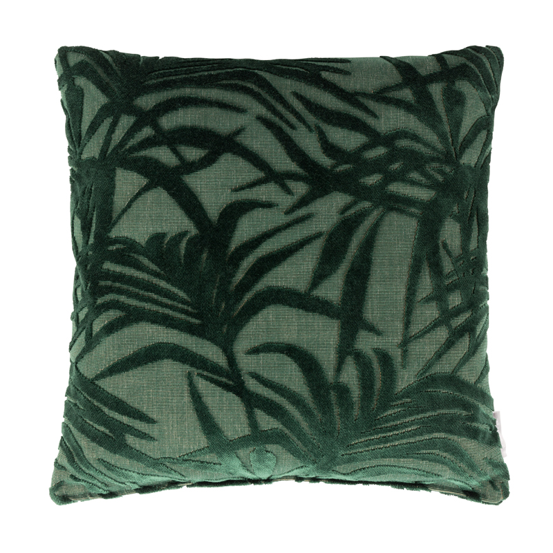 Groen sierkussen met blad patroon
