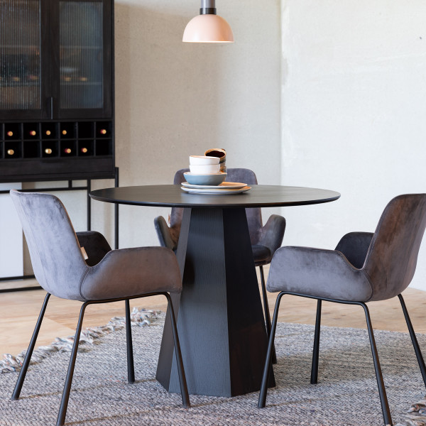 Ronde design eettafel zwart