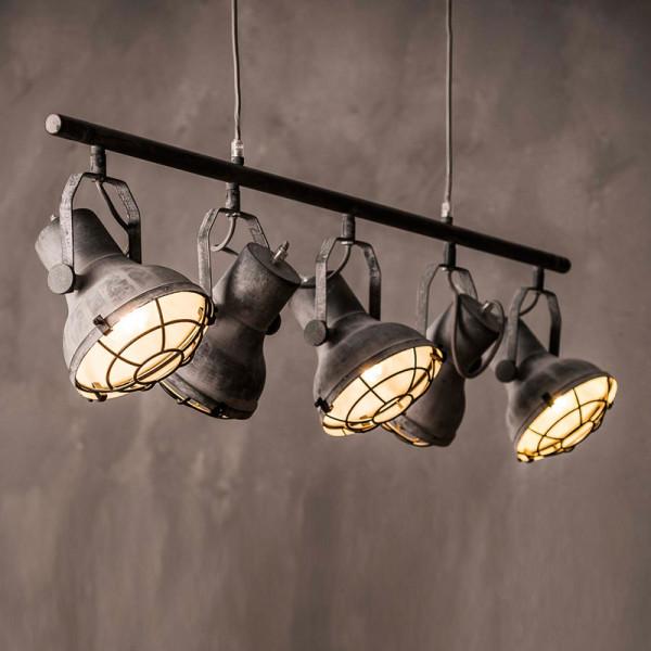 5-spots hanglamp betonlook