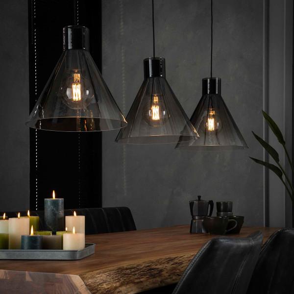 Drievoudige hanglamp grijs glas