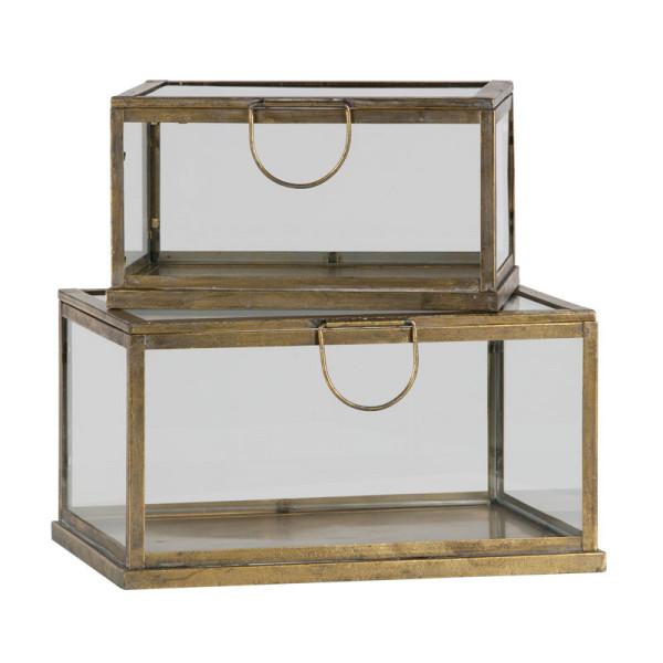 Opbergdoos metaal glas antique brass