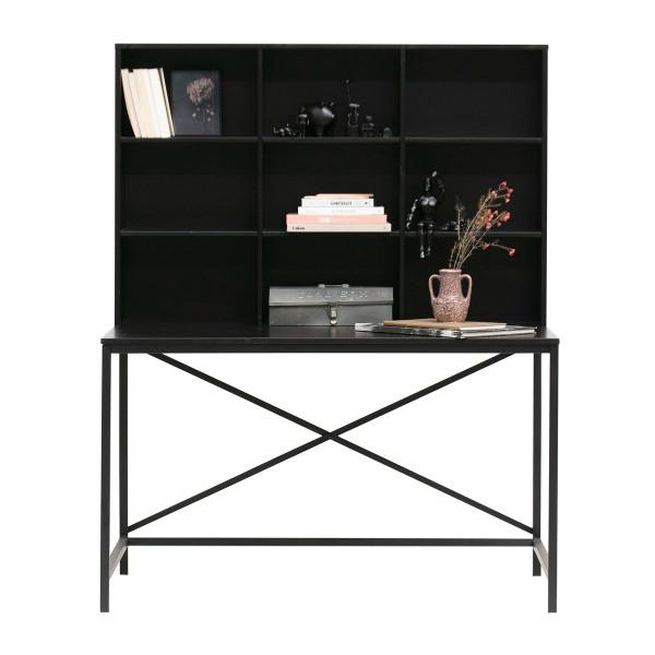 Zwart bureau met vakkenkast