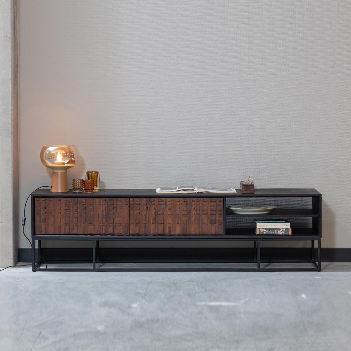 Zwart tv-meubel walnoot
