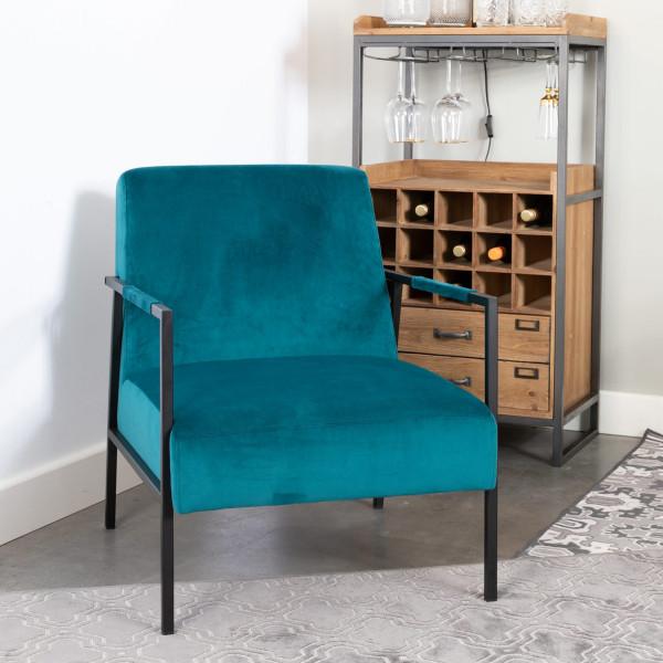 Blauwe velvet retro fauteuil