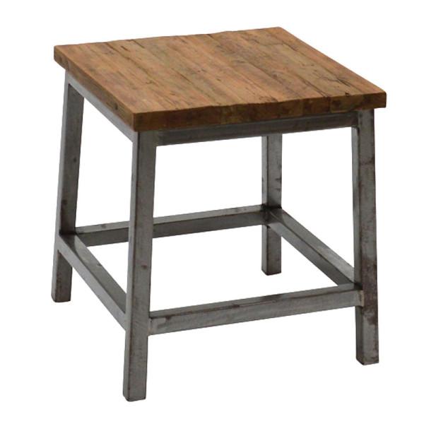 Vierkante houten kruk met staal