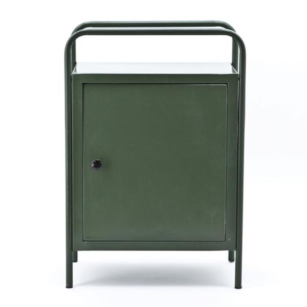 Groen stalen nachtkast met deur