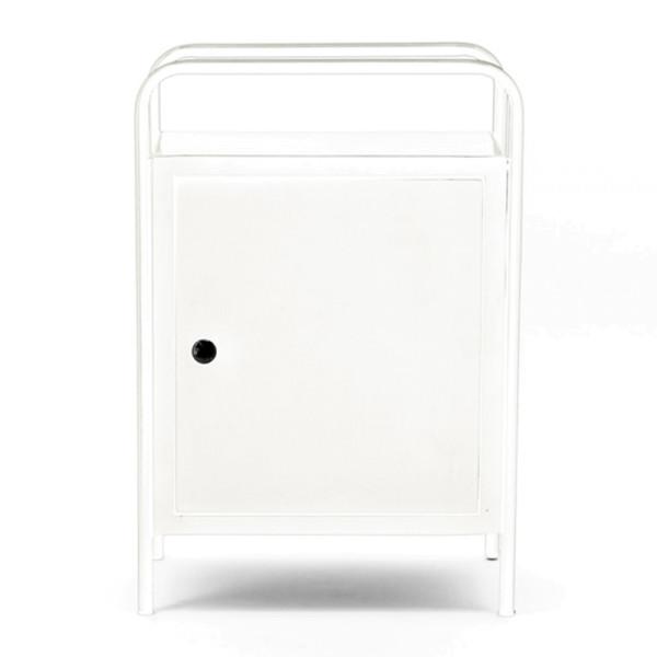 Wit stalen nachtkast met deur