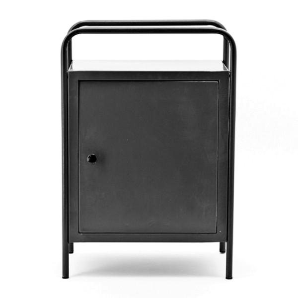 Zwart stalen nachtkast met deur