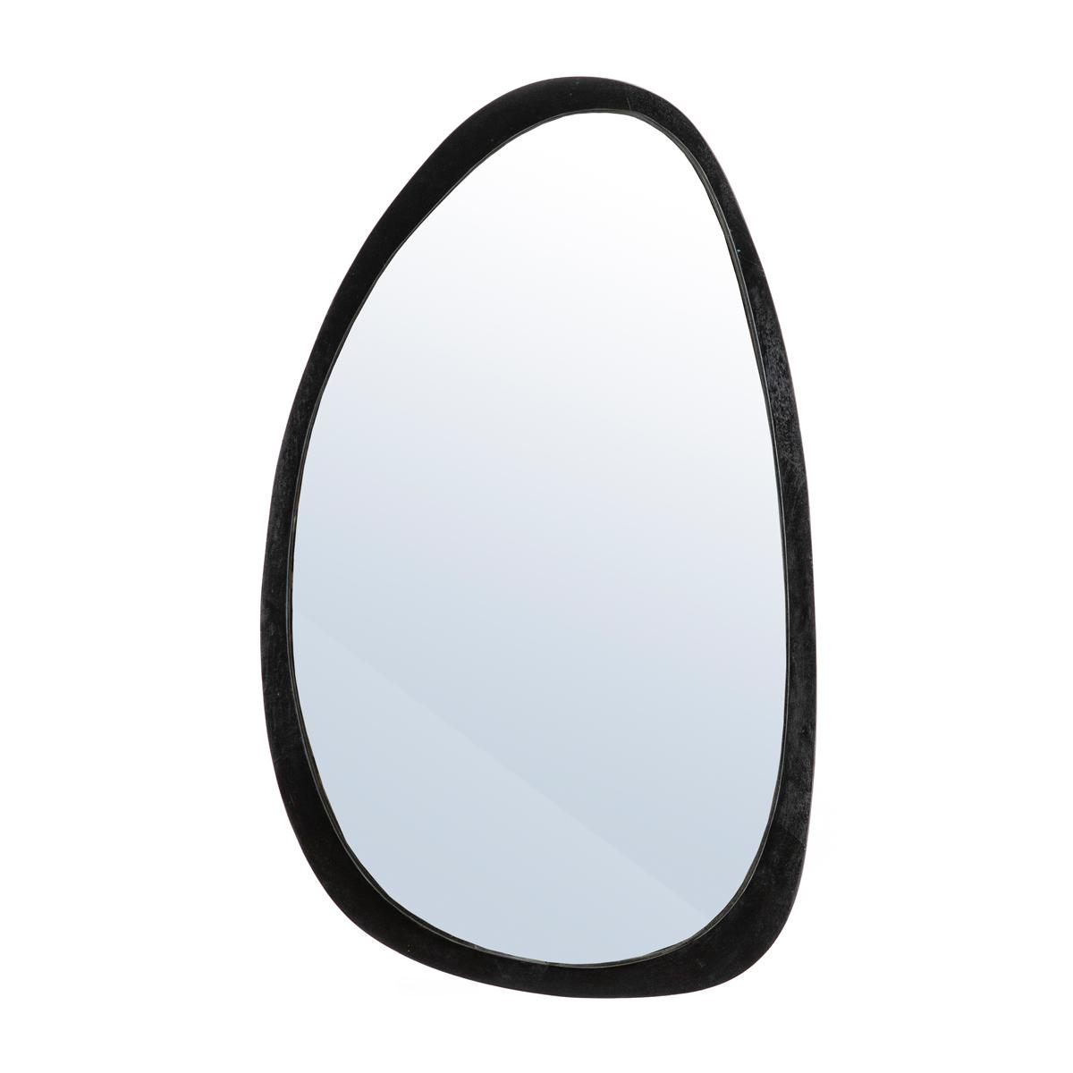 Houten spiegel ovaal