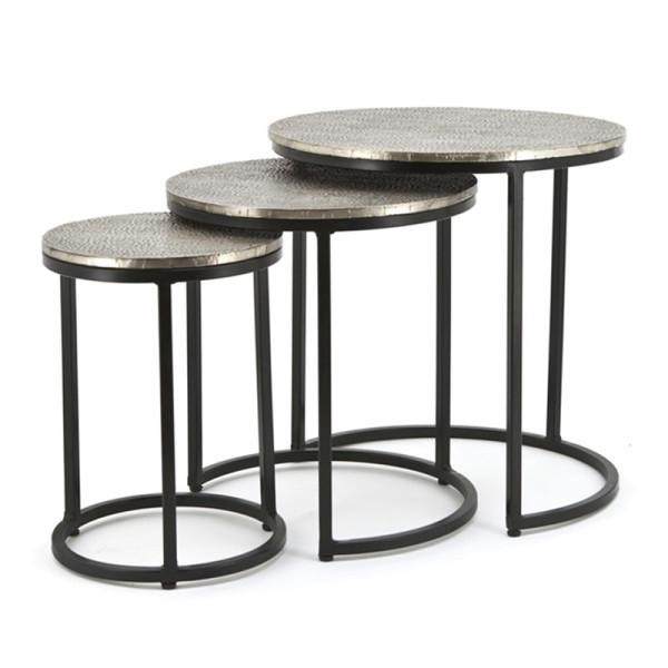Zwart metalen salontafelset rond