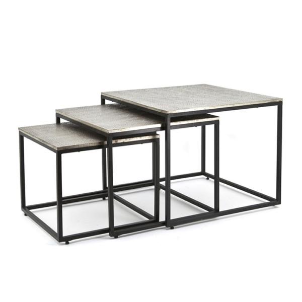 Zwart metalen salontafelset vierkant