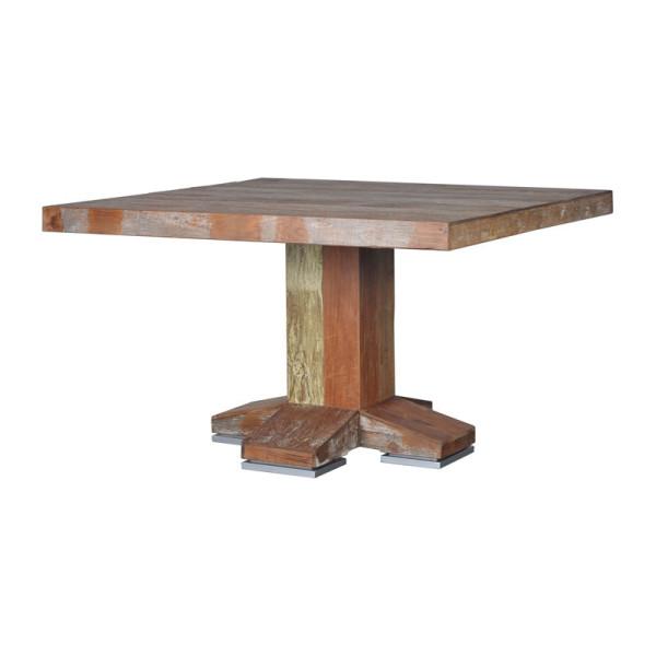 Vierkante eettafel van hout