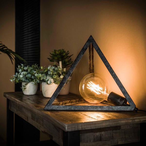Driehoekig lampje van metaal