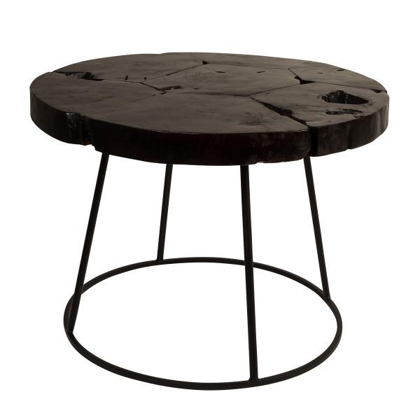 Ronde teakhouten salontafel