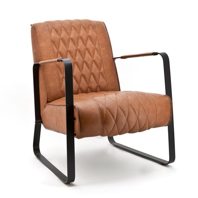 Industriele fauteuil met ruitmotief