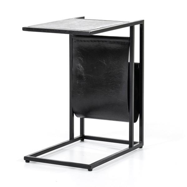 Laptoptafel zwart marmer met staal