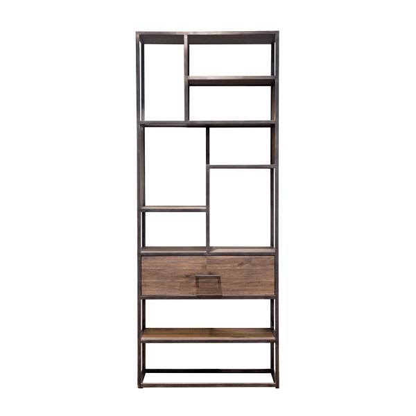 Bruine houten open wandkast