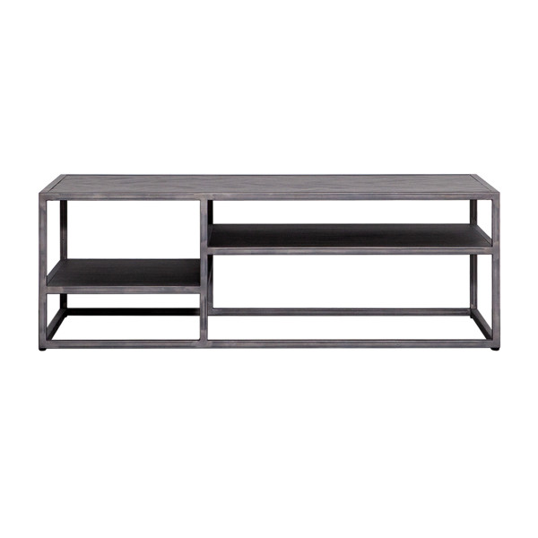 Zwarte houten salontafel