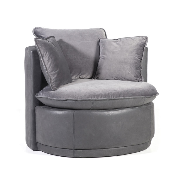 Ronde fauteuil leer en fluweel
