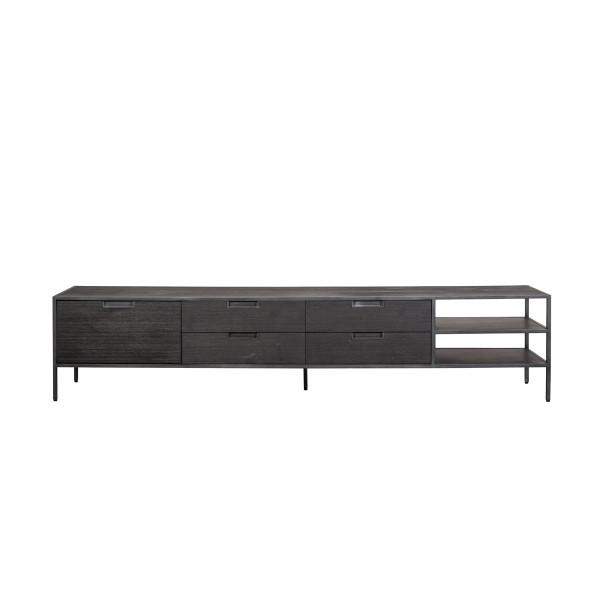Zwart houten tv-meubel 210 cm